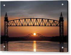 Railroad Bridge Framing The Bourne Bridge During A Sunrise Acrylic Print