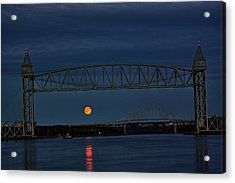 Acrylic Print featuring the photograph Railroad Bridge Over A Full Moon by Greg DeBeck