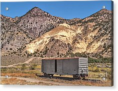 Acrylic Print featuring the photograph Railroad Car In A Beautiful Setting by Sue Smith