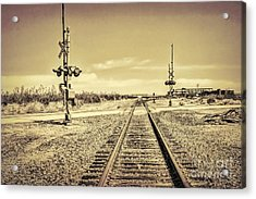 Railroad Crossing Textured Acrylic Print