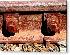 Railroad Track Nuts Bolts Spikes . 7d12683 Acrylic Print by Wingsdomain Art and Photography