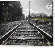 Railroad Tracks Bw Acrylic Print