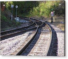 Railroads Merging Acrylic Print by Richard Mitchell