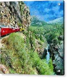 Rails Above The River Acrylic Print by Jeff Kolker