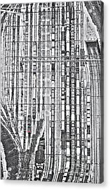 Rails And The Lone Red Train Acrylic Print by Kim Lessel