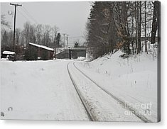 Acrylic Print featuring the photograph Rails In Snow by John Black