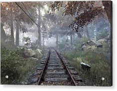 Rails To A Forgotten Place Acrylic Print by Kai Saarto