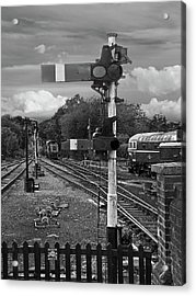 Railway Signals In Black And White Acrylic Print