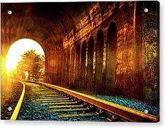 Railway Track Sunrise Acrylic Print