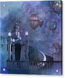 Acrylic Print featuring the digital art Rain And Balloons At Hearst Castle by Jeff Burgess