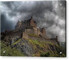 Rain Clouds Over Edinburgh Castle Acrylic Print by Amanda Finan