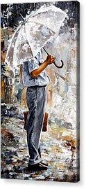 Rain Day - The Office Man Acrylic Print by Emerico Imre Toth