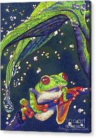 Rain Drops - Tree Frog Acrylic Print by Tracy L Teeter