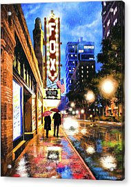 Acrylic Print featuring the mixed media Rain Falling On Peachtree Street - Atlanta by Mark Tisdale