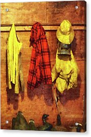 Rain Gear And Red Plaid Jacket Acrylic Print by Susan Savad