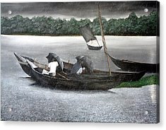 Rain In Bangladesh- An Acrylic Painting Acrylic Print by Fahad Hossain
