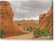 Acrylic Print featuring the photograph Rain In The Distance At Arches by Sue Smith