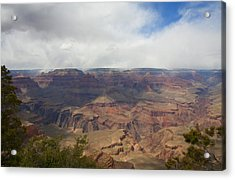 Rain On North Rim Over Bright Angel Trail Acrylic Print by Gregory Scott