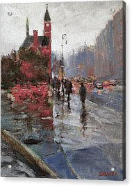 Rain On Sixth Avenue Acrylic Print by Peter Salwen