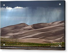 Rain On The Great Sand Dunes Acrylic Print by Catherine Sherman