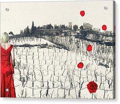 Rain Red Roses Acrylic Print