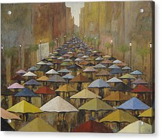 Acrylic Print featuring the painting Rain Street by Glenn Quist