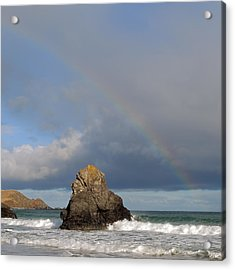 Rainbow Above Sango Bay Sea Stack Acrylic Print by Maria Gaellman