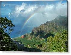 Rainbow At Kalalau Valley Acrylic Print by James Eddy