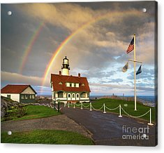 Rainbow At Portland Head Light Acrylic Print by Benjamin Williamson
