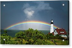 Rainbow At Portland Headlight Acrylic Print