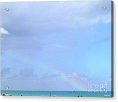 Acrylic Print featuring the digital art Rainbow At The Beach 1 by Francesca Mackenney