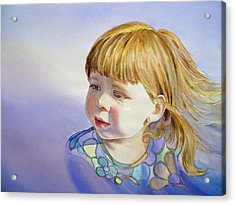 Rainbow Breeze Girl Portrait Acrylic Print