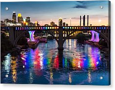 Rainbow Bridge In Minneapolis Acrylic Print by Jim Hughes