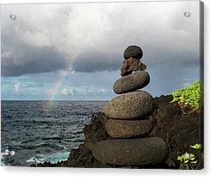 Rainbow Cairn Acrylic Print