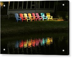 Rainbow Chairs  Acrylic Print