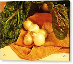 Rainbow Chard And Pearl Onions Acrylic Print by Jamey Balester