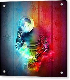 Rainbow Dj Acrylic Print by Robert Palmer