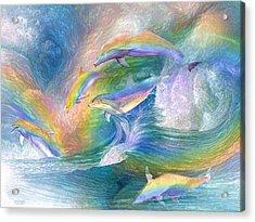 Rainbow Dolphins Acrylic Print by Carol Cavalaris