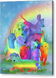 Acrylic Print featuring the mixed media Rainbow Dachshunds 1 by Carol Cavalaris