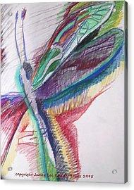 Rainbow Dragonfly Acrylic Print by Jamey Balester