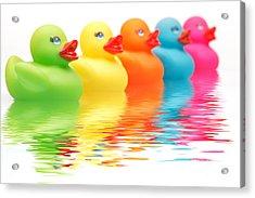 Rainbow Ducks Acrylic Print by Martin Williams