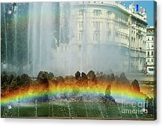 Acrylic Print featuring the photograph Rainbow Fountain In Vienna by Mariola Bitner