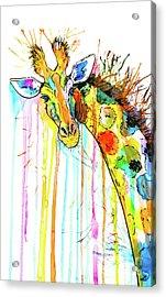 Acrylic Print featuring the painting Rainbow Giraffe by Zaira Dzhaubaeva