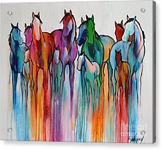 Acrylic Print featuring the painting Rainbow Horses by Cher Devereaux