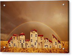 Rainbow Houses Acrylic Print