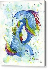 Acrylic Print featuring the painting Rainbow Koi by Darice Machel McGuire