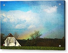 Rainbow Landscape Acrylic Print by Heike Hultsch