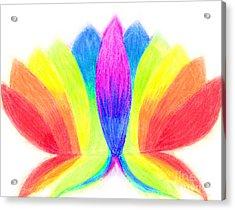 Rainbow Lotus Acrylic Print by Chandelle Hazen