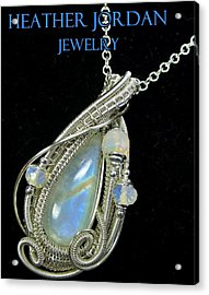 Rainbow Moonstone And Sterling Silver Wire-wrapped Pendant With Ethiopian Welo Opals Mnstpss7 Acrylic Print