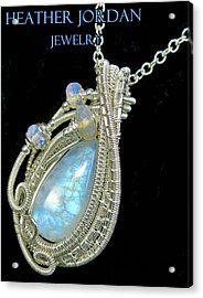 Rainbow Moonstone And Sterling Silver Wire-wrapped Pendant With Ethiopian Welo Opals Mnstpss8 Acrylic Print
